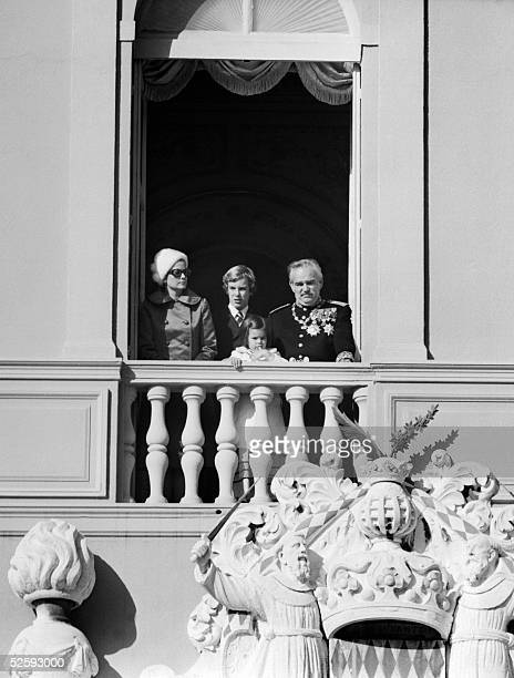 Picture taken 20 November 1971 of Prince Albert of Monaco Princess Grace Prince Rainier III and Princess Stephanie standing on the balcony of...