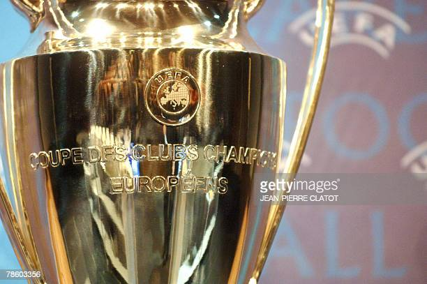 A picture taken 21 December 2007 shows the UEFA Champions League Trophy during the draw for the last 16 phase of the UEFA Champions League Cup...