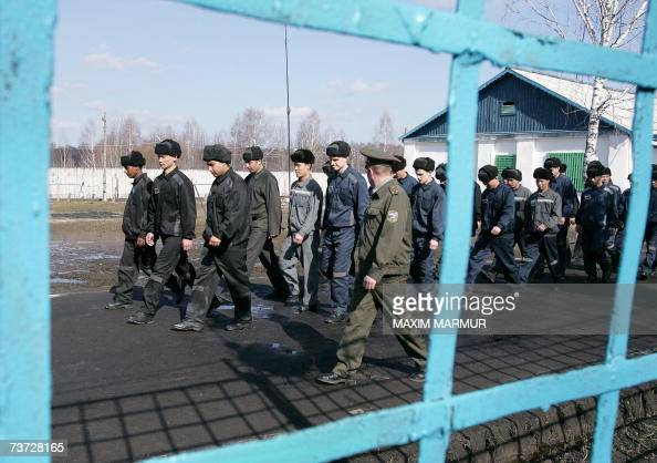 Picture taken 21 March 2007 shows prisoners walking at Mordovia penal Colony 650 kilometres east of Moscow In a vast prison complex created by Soviet...
