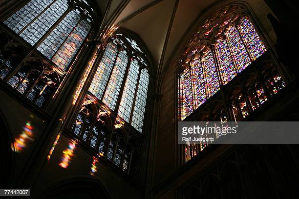 Picture taken 22 October 2007 shows a new window in a kaleidoscope of 72 colours at the 13thcentury Cologne Cathedral one of Germany's most famous...