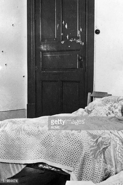 Picture taken 26 May 1940 in Mexico City showing the bulletriddled bedroom of Leon Trotsky after an attempted assassination of the exiled Russian...
