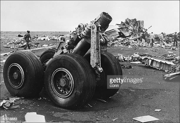 Picture taken 28 March 1977 of a KLM Jumbo Jet and a Boeing 747 remains that collided 27 March above Santa Cruz De Tenerife airport killing 580...
