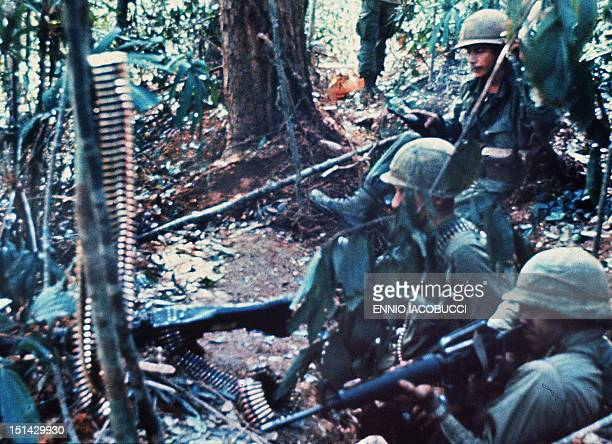 Picture taken 29 November 1967 of South Vietnamese soldiers defending their position on the Hill 875 as NVA made a massive assault / AFP PHOTO /...