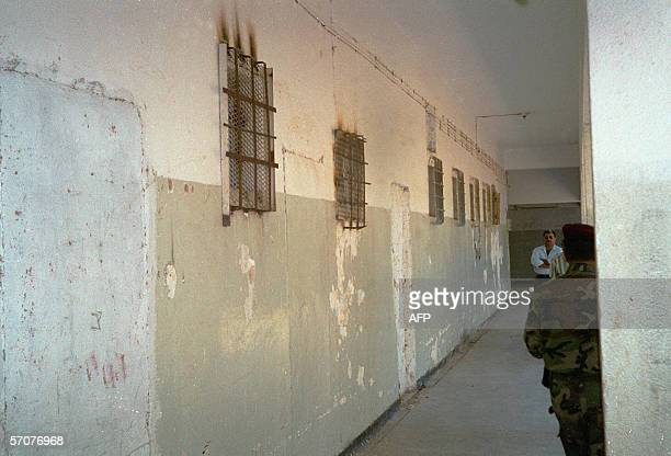 Picture taken 30 April 2002 shows windows of prison cells in the West Bank city of Jericho One Palestinian was killed and 18 wounded during clashes...