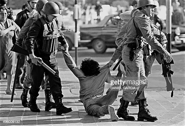 Picture taken 30 March 1982 of a worker who is being arrested during a protest against Argentine dictatorship in Buenos Aires Argentina's Supreme...