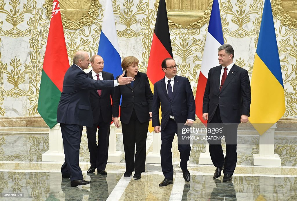 A picture taken and released by Ukrainian Presidential Press service shows from left to right President Alexander Lukashenko Russian President...