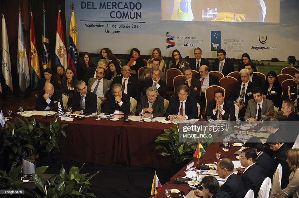 Picture taken as the plenary session of the XLV Mercosur Summit unfolds at the headquarters of the bloc in Montevideo on July 12, 2013. Leaders of the South American trade bloc that includes Argentina, Brazil, Uruguay and Venezuela, agreed to a statement reaffirming the fundamental right of asylum, Maduro said Friday amid a test of wills with Washington over the fate of US intelligence leaker Edward Snowden.