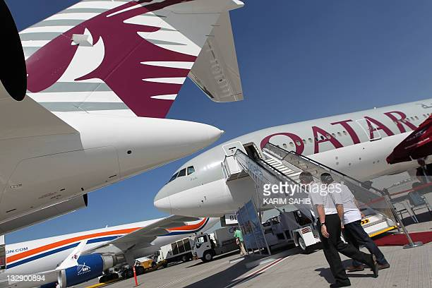 A picture taken at the Dubai Airshow on November 15 2011 shows a Boeing 777200LR aircraft that Qatar Airways said it ordered from the US...