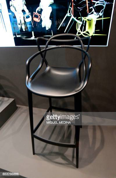 A picture taken at the museum of Italian contemporary furniture brand Kartell shows a 2012 modified polypropylene 'Masters' stool by french designer...
