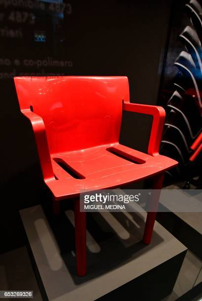 A picture taken at the museum of Italian contemporary furniture brand Kartell shows a 1986 homopolymer and copolymer polypropylene 'Stacking chair'...