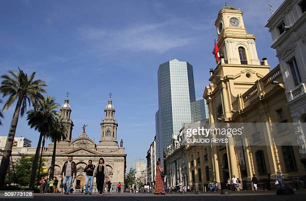 Picture taken at the Plaza de Armas square in Santiago taken on the 475th anniversary of the city's foundation on February 12 2016 The Chilean...