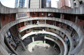 Picture taken at the Tower of David an abandoned skyscraper in Caracas originally intended to be an office building that became a 'vertical slum'...