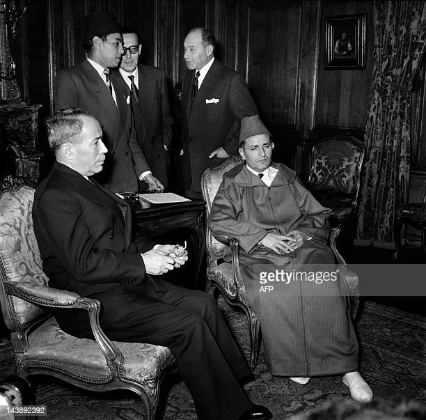 A picture taken circa November 4 1955 in La Celle Saint Cloud in Paris suburbs shows Moroccan Sultan Mohammed ben Youssef and French Foreign Minister...