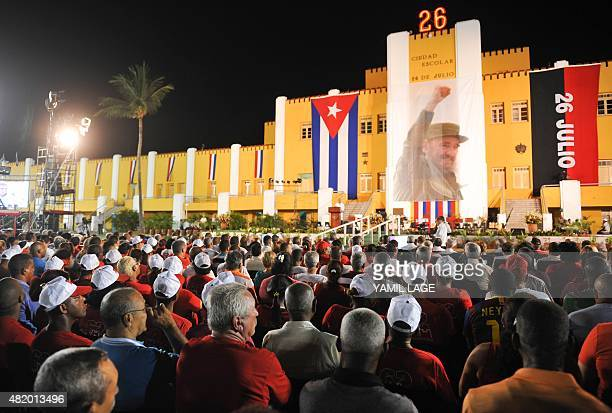 Picture taken during the celebrations for the 62nd anniversary of the guerrilla assault on the Moncada Barracks widely regarded as the beginning of...