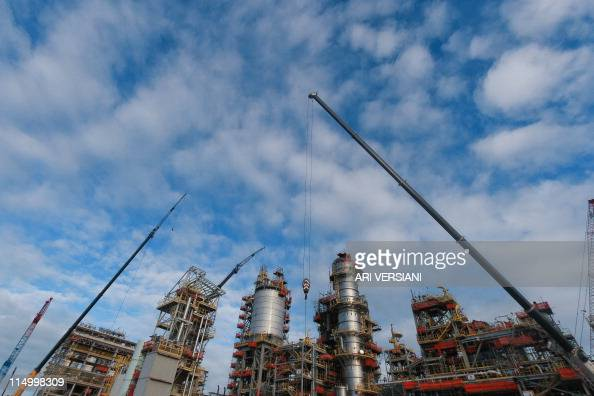 Picture taken during the construction of the Abreu e Lima refinery at the Suape industrial complex of the Brazilian state oil company Petrobras in...