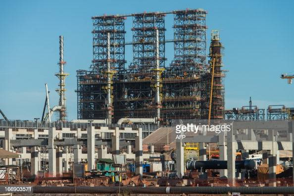 Picture taken during the construction of the Petrobras' Abreu e Lima oil refinery in Recife Pernambuco state Brazil on April 15 2013 AFP...