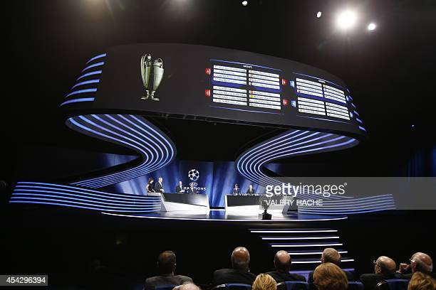 Picture taken during the draw for the 2014/2015 European Champions League group stages on August 28 2014 in Monaco Champions Real Madrid will play...