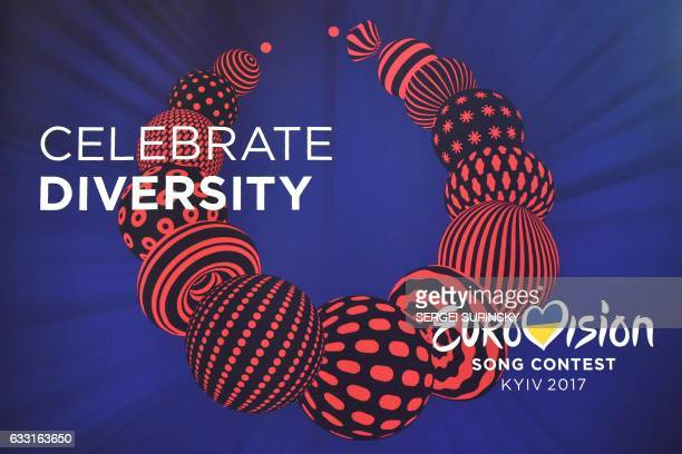 Picture taken during the semifinal allocation draw of the Eurovision Song Contest 2017 in Kiev on January 31 shows the official logo of the...