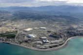 Picture taken from a helicopter on May 18 shows a general view of the construction area of the Olympic Park in the Black Sea resort of Sochi Sochi...