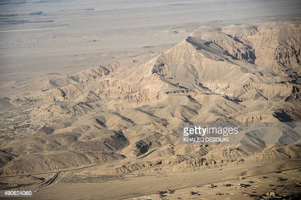 A picture taken from airplane on September 30 2015 shows the hills of the Valley of the Kings in the West Bank of Luxor 500 kms south of Cairo AFP...