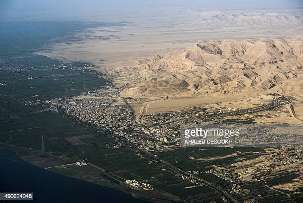 A picture taken from an airplane on September 30 2015 shows the hills of the Valley of the Kings in the West Bank of Luxor 500 kms south of Cairo AFP...