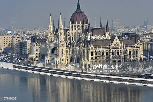 A picture taken from Buda Palace on February 8 2010 shows the Hungarian Parliament building on the banks of the Danube river in Budapest AFP PHOTO /...