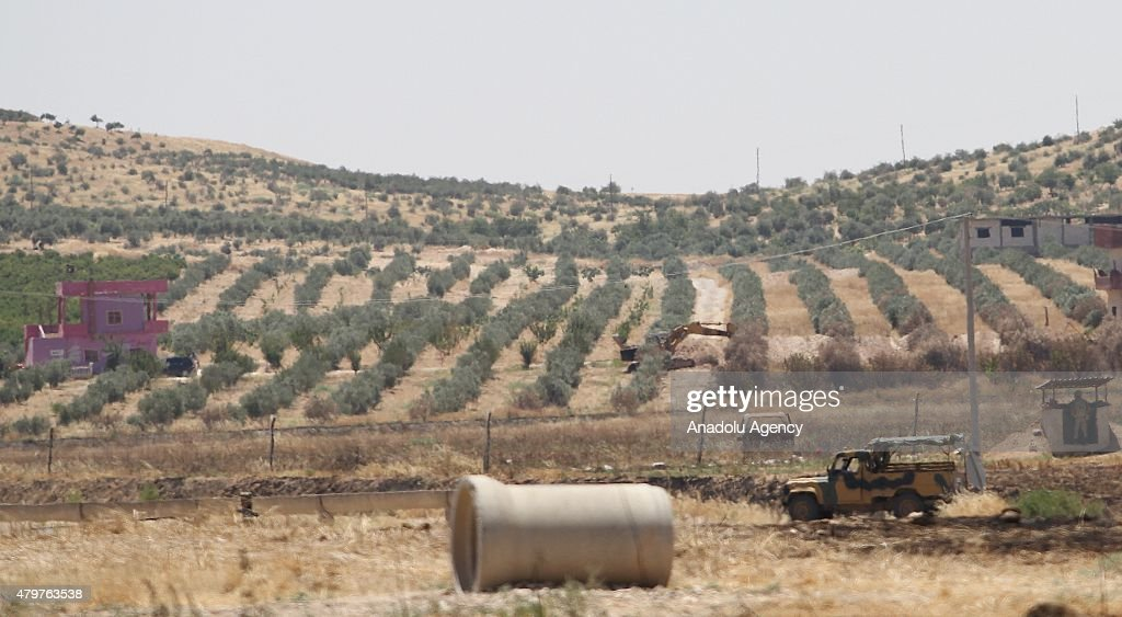 A picture taken from Karkamis district of Turkey's Gaziantep province which has border with Jarabulus district of Syria's Aleppo province shows Daesh...