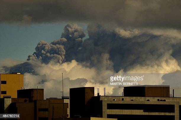 Picture taken from Quito of the Cotopaxi volcano spewing ash on August 21 2015 Nearly 325000 people could be affected by an eruption of Cotopaxi the...