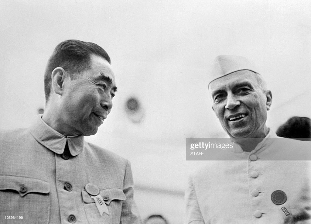 Picture taken from the 50s of Indian prime minister Pandit Jawaharlal Nehru in official visit in China talking with his chinese counterpart Zhou...