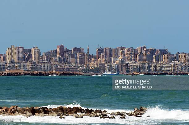 A picture taken from the Corniche on April 24 2015 shows buidings in the Bahary neighborhood of the Egyptian port of Alexandria AFP PHOTO / MOHAMED...