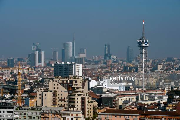 A picture taken from the Generali tower also called Hadid tower shows a general view of the business district of Milan on October 15 2017 / AFP PHOTO...