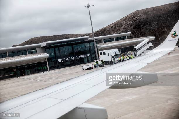 A picture taken from the inaugural first commercial flight between Johannesburg and Saint Helena shows the newly built airport of the island of Saint...