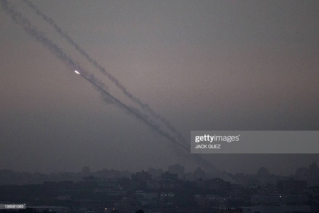 A picture taken from the southern Israeli border with the Gaza Strip shows a rockets being launched from the Gaza strip into Israel on November 17, 2012. Turkish Prime Minister Recep Tayyip Erdogan said that Israel would be held to account for the children among 40 people dead in three days of air strikes on Gaza. AFP PHOTO / JACK GUEZ