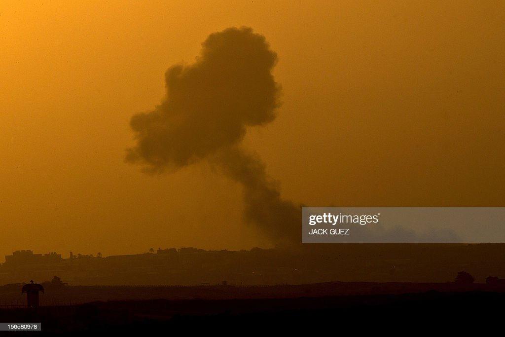 A picture taken from the southern Israeli border with the Gaza Strip shows smoke billowing following an Israeli air strike inside the Palestinian territory on November 17, 2012. Turkish Prime Minister Recep Tayyip Erdogan said that Israel would be held to account for the children among 40 people dead in three days of air strikes on Gaza.