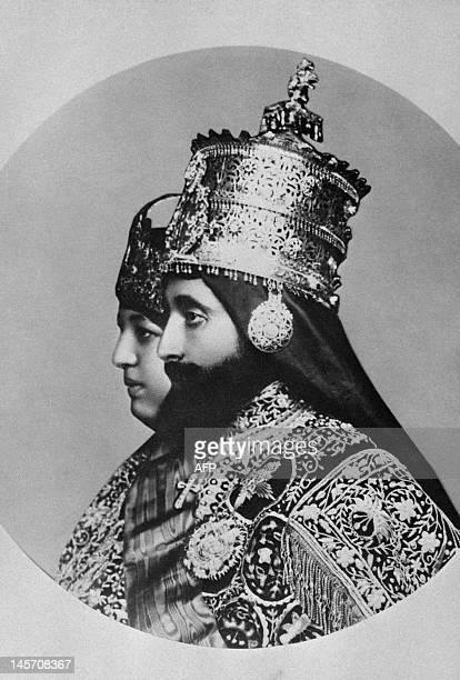 Picture taken in 1930 of the coronation of Ethiopian Emperor Haile Selassie the last Emperor of Ethiopia with empress Menen Asfaw Haile Selassie led...