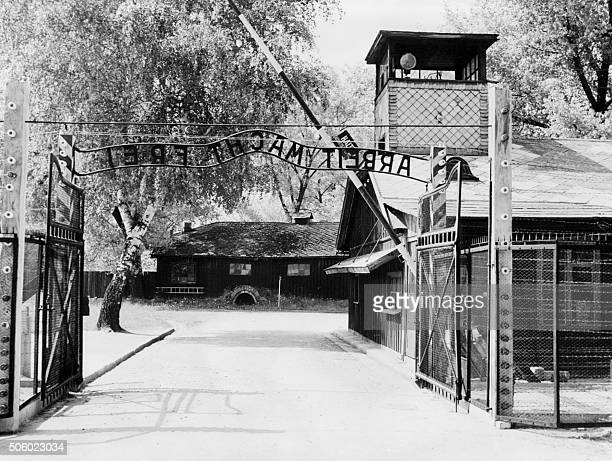A picture taken in April 1945 depicts Auschwitz concentration camp gate with the inscription 'Arbeit macht frei' after its liberation by Soviet...