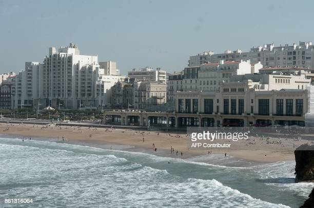 A picture taken in Biarritz western France on October 14 2017 shows La Grande Plage GAIZKA