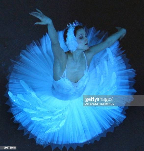 A picture taken in Bolshoi Theatre in Moscow on February 28 shows ballerina Galina Stepanenko dancing during the rehearsal of Pyotr Chaikovsky's...