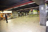 A picture taken in Brussels on March 22 shows the empty De Brouckere metro station following its evacuation after an explosion killed around 10...
