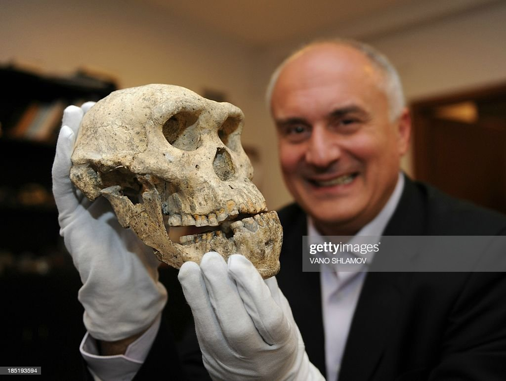A picture taken in Georgia's capital in Tbilisi on October 18, 2013, shows David Lordkipanidze, director of the Georgian National Museum, holding a well-preserved skull from 1.8 million years ago found found in the remains of a medieval hilltop city in Dmanisi. A stunningly well-preserved skull from 1.8 million years ago offers new evidence that early man was a single species with a vast array of different looks, researchers said yesterday.