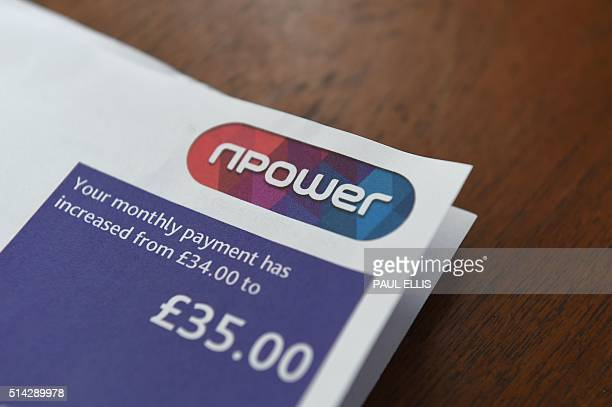 A picture taken in Hull northeast England on March 8 2016 shows an energy bill from British energy supplier npower British energy supplier npower a...
