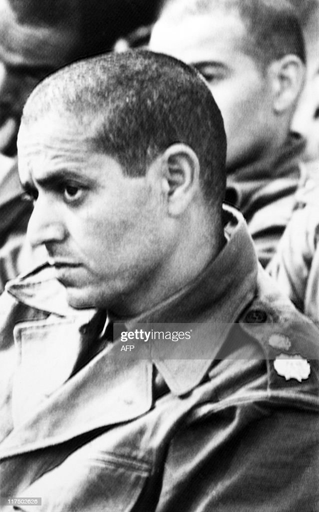 Picture taken in January 1972 of wing commander Mohamed Ababou, one of the initiator of the attempted coup of Skhirat on July 10, 1971 against Morocco's King Hassan II in Kenitra's military tribunal. The coup attempt of Skhirat took place on July 10, 1971 when 1400 young cadets from the military school Ahermoumou stormed the King's birthday party in his beach palace in Skhirat, some 20 km south of Rabat, at the request of their superiors General Mohamed Medbouh and Colonel M'hamed Ababou, killing about 100 guests.