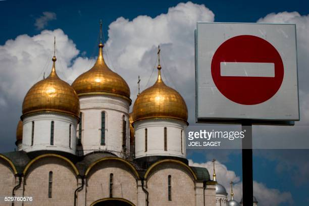 A picture taken in Moscow on May 6 2016 shows the Russian Russian Orthodox church of the Archangel dedicated to the Archangel Michael / AFP / JOEL...