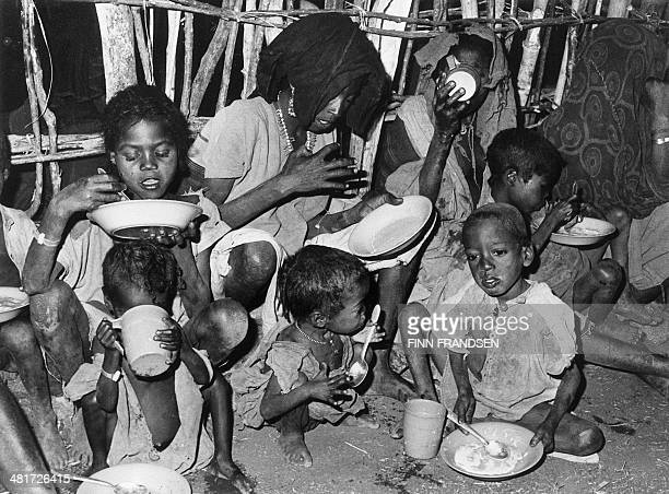 Picture taken in November 1984 in Ethiopia of children suffering of starvation treated in a medical and food's distribution center Developed...