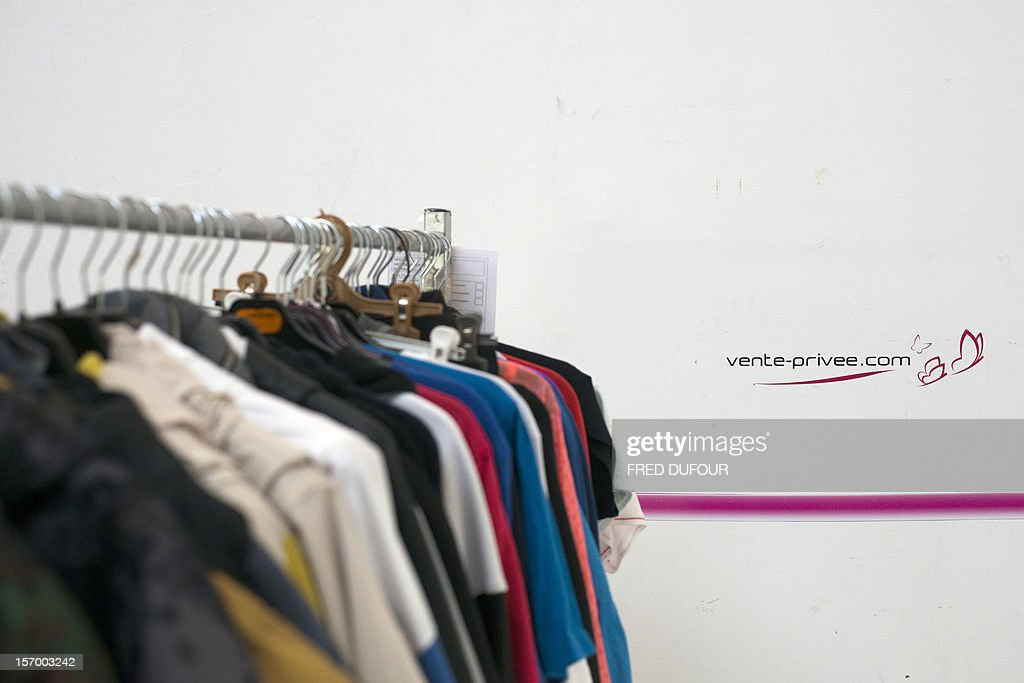 Picture taken in Saint-Denis, north of Paris, shows clothes on a rack at the headquarters of vente-privee.com, on November 27, 2012, ahead of the Christmas and new Year celebrations. The vente-privee.com storage facilities celebrates its 10th anniversary.