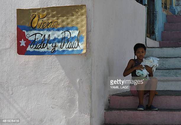 Picture taken in Santiago de Cuba on July 25 2015 a day before the Cuban government holds a ceremony in the city to mark the 62nd anniversary of the...