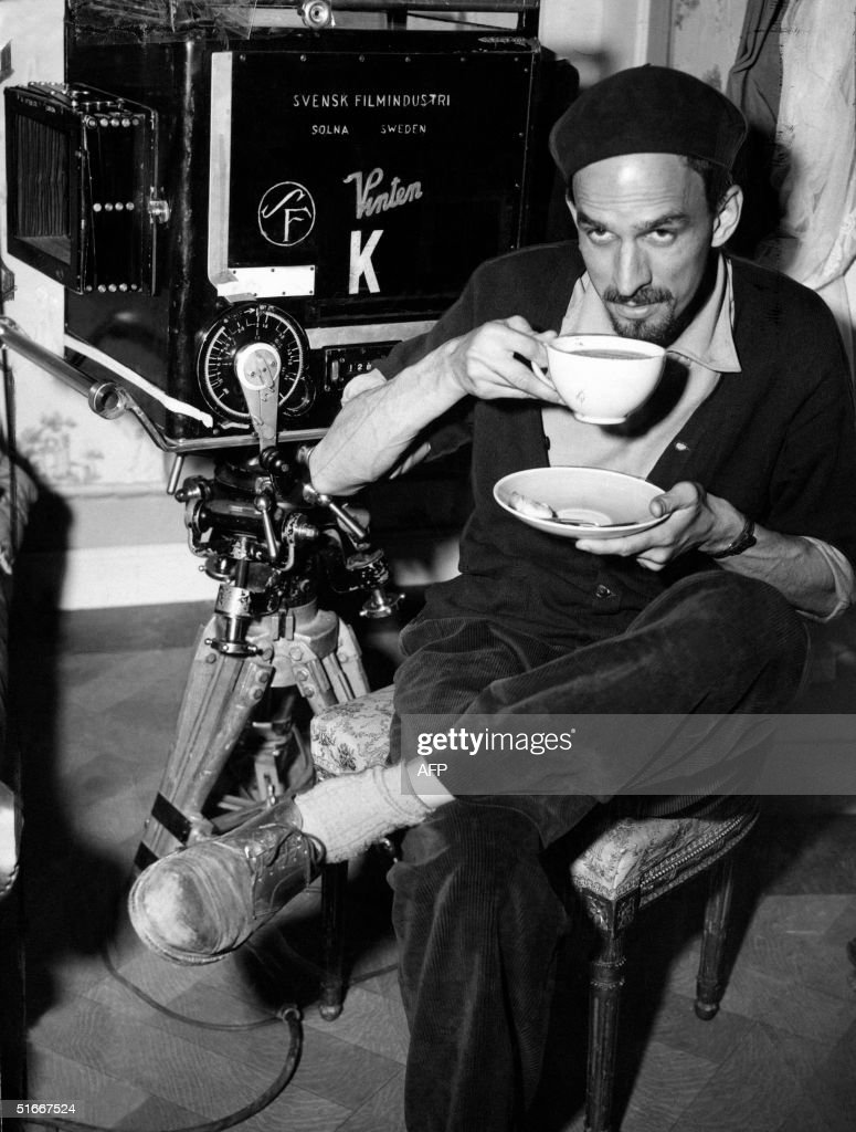 Picture taken in the 1960s in Sweden shows legendary Swedish filmmaker and theater director Ingmar Bergman drinking a cup of tea while shooting a movie.