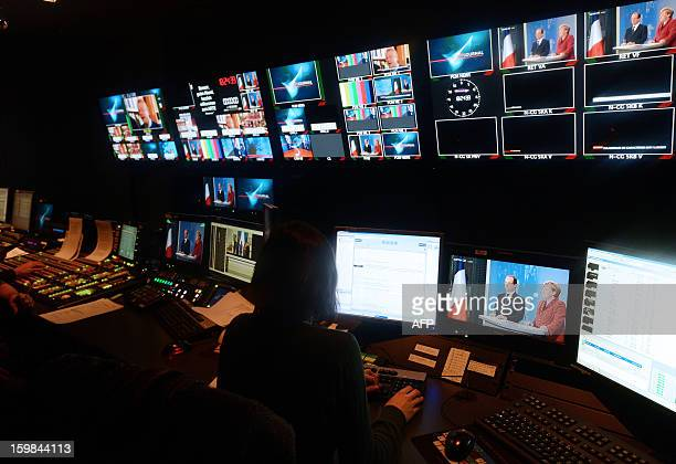 Picture taken in the control room of the FrancoGerman TV network Arte in Strasbourg eastern France on January 21 2013 as French President Francois...