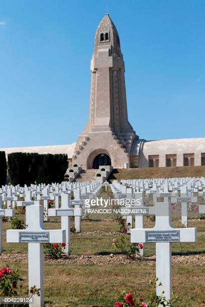 A picture taken in the Douaumont Ossuary near Verdun northeastern France on September 13 2016 shows the military cemetary and the Ossuary building...