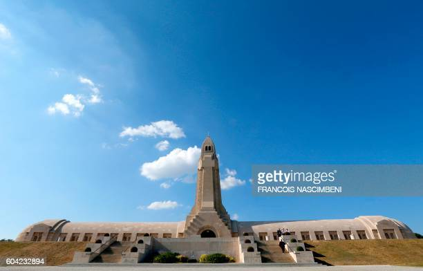 A picture taken in the Douaumont Ossuary near Verdun northeastern France on September 13 2016 shows the Ossuary building during a ceremony marking...